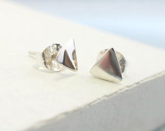 Stud Earrings | Triangle Studs, Triangle Stud Earrings, Stud Earrings, Tiny Studs, Post Earrings, Small Stud Earrings, Post Earring, Silver
