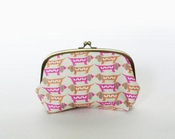Cosmetic bag, pink sausage dog fabric, dachshund fabric, dog purse, cotton purse