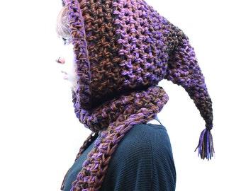 NEW Hood long open Scarf chunky elfin cowl fringe vegan rasta air purple black brown