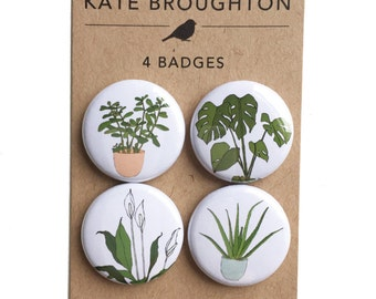 houseplant badges (pinback buttons) set of 4 - plant pins - pot plant accessories - gift for plant lover