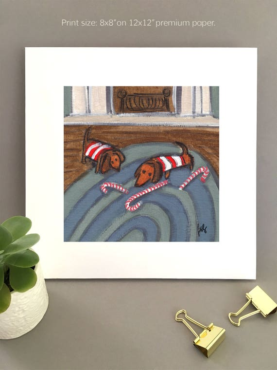 Doxie Wall Art, two dachshunds painting, christmas dashunds, candy canes, doxie art for my house, charming artwork  FREE Shipping