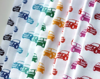 Mini Car Fabric / Car Print Fabric / Fabric by the yard / Quilting Cottons / Car Fabric / Mini Cooper / Cute Fabric / Choose a Color