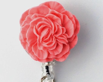 ID Badge Reel Pink Flower - Peony - Resin Flower Cabochon on Retractable Badge Holder 331