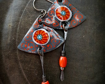 Enameled Charms, Enameled Earrings, Retro, Copper, African Beads, Artisan made, Organic, Rustic, Beaded Earring