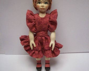 OOAK Handcarved Wood Wooden Girl Dolly