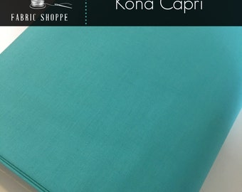 Kona cotton solid quilt fabric, Kona CAPRI 442, Aqua fabric, Solid fabric Yardage, Kaufman, Cotton fabric, Choose the cut