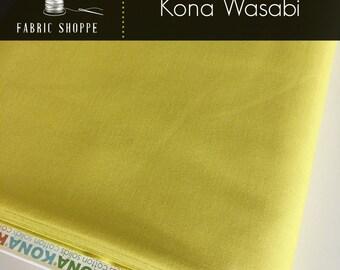 Kona cotton solid quilt fabric, Kona WASABI 452, green fabric, Solid fabric Yardage, Kaufman, Cotton fabric, Choose the cut