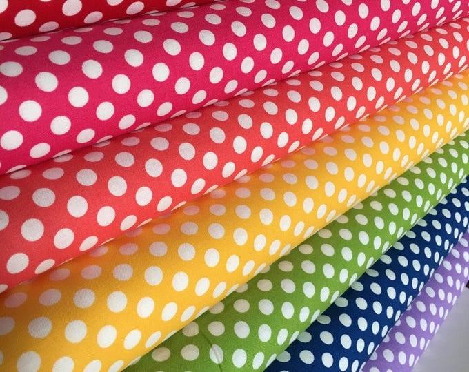 Rainbow Polka Dot Fabric Bundle, Sewing Fabric, Fabric by the Yard, Rainbow fabric, Robert Kaufman Fabric Bundle of 7, Choose the Cuts