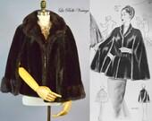 Vegan Fur Stole ~ Vintage 60s Faux Sable Mink Wrap ~ Glenoit Plush Capelet
