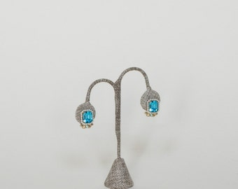 Vintage Aquamarine Rhinestone Earrings --- 1950s Earrings