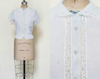 1950s Blouse --- Vintage Sheer Blouse