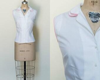1960s Cotton Blouse --- Vintage Button Up Blouse
