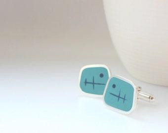 Aqua Blue Cufflinks - Square Sterling Silver Cufflinks - Handmade Modern Cuff lInks - Colourful Gifts for Men