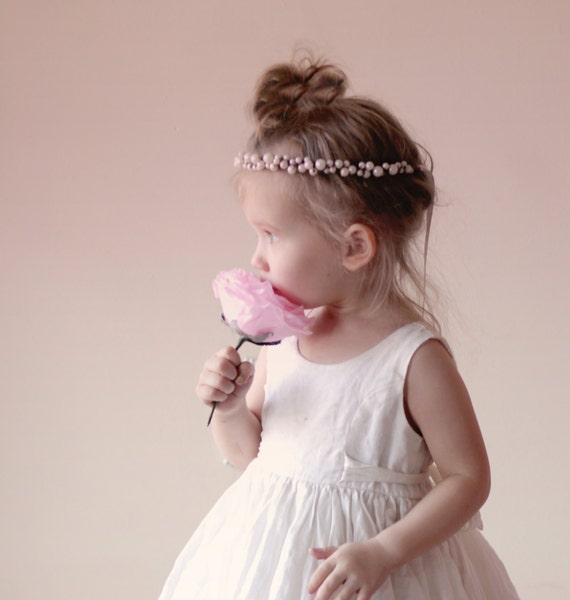 Flower girl crown, Baby hair crown, Tie back halo, Ivory pearl flower girl crown, Baby Photo Prop, Photography prop, Toddler  (12+ months)