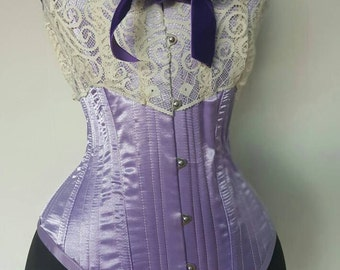 Hand crafted Overbust Corset in Lilac Satin-ready to ship