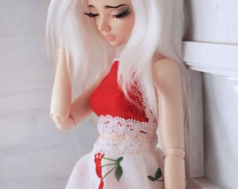 BJD Doll Minifee clothes MSD clothing Red and white lace halter Crop Top MonstroDesigns