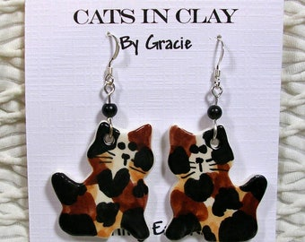 Tortie Cat Shaped French Wire Earrings Handmade In Kiln Fired Clay By Gracie