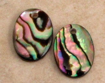 Genuine Abalone Shell Oval Pendant, 18 mm, 2 Pieces, A7