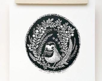Wagtail bird print, wagtail bird art, wagtail bird illustration
