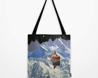 Tote Bag - somewhere along the way she found herself - surreal vintage-inspired collage art for the dreamer and traveler