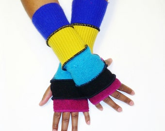 Multicolor Fingerless Gloves, Armwarmers, Patchwork Gloves(Magenta/Black/Patched Turquoise,Hot Pink/Gold/Royal Blue) by Brenda Abdullah