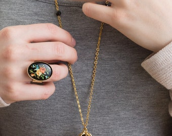 Black and Gold Necklace, Ball and Chain Necklace, Vintage Necklace