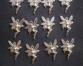 10 Fairy Charms Silver Tone Metal 20mm