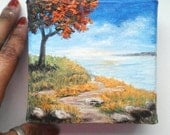 "Oil Painting Tree by Sea 3D, 4"" x 4"" Heavy Duty Gallery Wrap Canvas READY to SHIP"