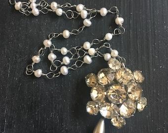Trinket No. 16 Sparkle Rhinestone Vintage Pearls Teardrop Necklace Repurpose Fancy DressUp Handmade