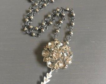 Trinket No 6 Vintage Smoky Rhinestone Pyrite Dark Repurposed Necklace Jewelry