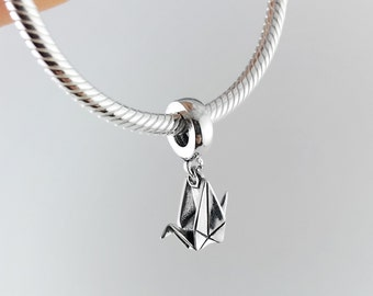 Silver Origami Paper Crane Pandora Bracelet Charm,Pandora Bracelet,Pandora Charm,Christmas Gift For Her,First Anniversary Gift for Her,Crane