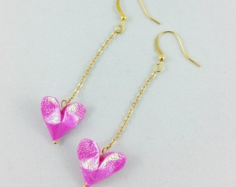 Origami Heart Earrings,Valentine's Day Gift for her,Origami Jewelry,Paper Anniversary Gift,Origami Jewelry,Pink Heart Earrings,Origami Gift