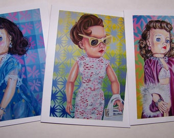 Vintage Doll Theme Notecards - Blue Della