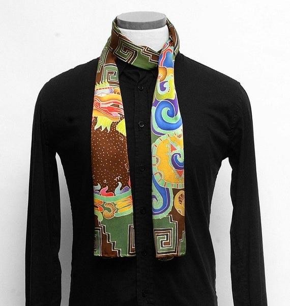 Mens Silk scarf, Aztec serpent, Handpainted scarf, Batik mens scarf, Tribal scarf, Luxury Scarves, Unique scarf, Hand painted silk scarf