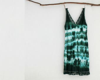 FOREST DWELLER . women's tie dye dress . plus size 22 . emerald green . boho gypsy hippie hippy festival bohemian slip australia . US sz 18
