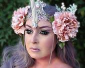 Unicorn Crown, Silver Filigree Unicorn Crown, Unicorn Headpiece, Unicorn Horn, Horned Headpiece