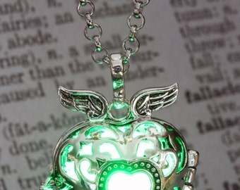 CYBER WEEK SALE - Pendant - Winged Heart Locket with Green glowing Orb - Lovely Christmas Gift for Her - Led jewelry