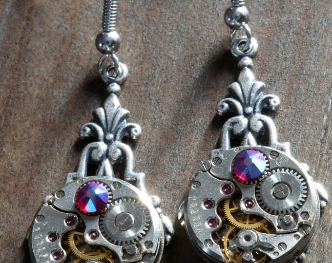 Steampunk Earrings - New Hyacinth Shimmer Swarovski Crystal