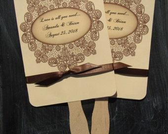 Wedding Fans - Lace Wedding Fans -  Country Fans - Personalized Hand Fans - Country Wedding - Fans Wedding - Favor Fans -Rustic Wedding Fans