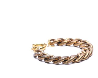 "Heavy Vintage Brass Chain Bracelet 7"""