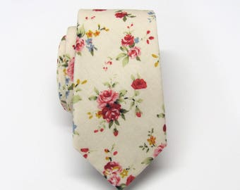 Cotton Mens Tie. Cotton Beige Champagne Cream Red Floral Skinny Tie With Matching Pocket Square Option