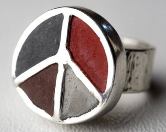 Peace Sign Ring Concrete Sterling Silver Peace Boho Chic One Of A Kind