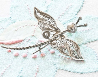 REDUCED Vintage  Maltese Filigree Silver Dragonfly Brooch / Pin,  925,Dainty Spring Summer Jewelry, Gift for Her FREE UK Postage