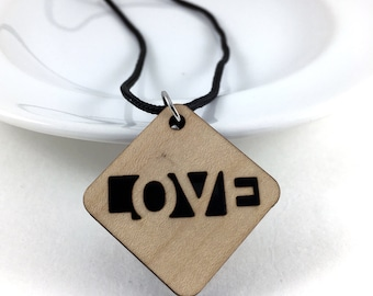 Love Necklace, Relationship Jewelry, Love Jewelry, Couple Necklace, Statement Necklace, Inspirational Jewelry, Wood Necklace, Gift For Her