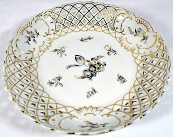 Dresden Pierced Reticulated Bowl - Flowers - Vintage - Scalloped Edge - Light Plum - Lots of Gold Edging