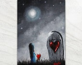 New Original Painting - Gothic Fantasy - Erback Tiny Treasures - Don't Worry I'll Keep You Safe This Time