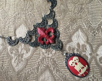 Bib Necklace Steampunk Fantasy Gothic Gypsy Tribal Pewter with Ivory on Red Cameo and Fleur di Lis