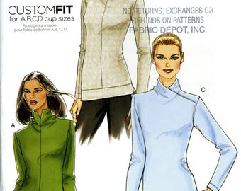 Vogue V8616 Easy Knit Top Close Fitting Custom Fit A, B, C, D Cup Size 6 8 10 12 Uncut Sewing Pattern 2009