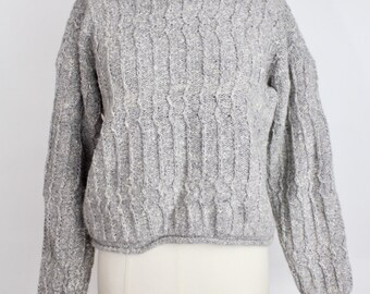 SALE | Vintage Heather Gray Sweater | Pullover Ribbed Knit Sweater | Cozy Wool Blend Sweater | M