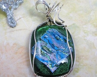 Blue Green Dichroic Fused Glass with Sterling Silver Wire Wrap Pendant Necklace